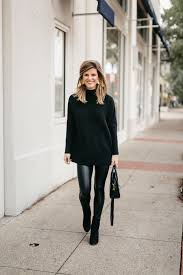black tunic sweater leather leggings and black booties