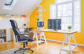 attic home office. Attic Home Office With Yellow Wall Accent And Small Pot H