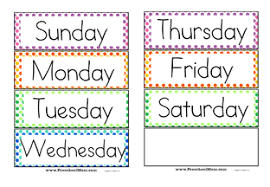 Days Of The Week Chart For Toddlers Preschool Calendar Printables Preschool Mom