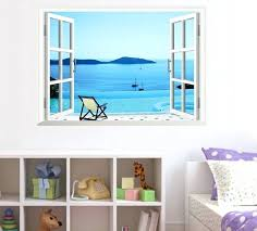 window mural decal wall sticker fake window beach scenery posters decor mural decal art for living