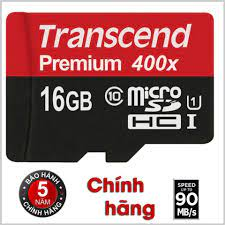 Thẻ Nhớ Micro SD Premium Transcend 16GB Class 10