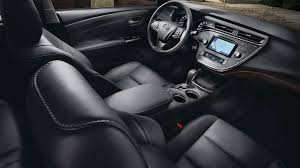 interior of a toyota avalon showing leather seats
