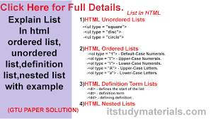 Explain List In Html Ordered List Unordered List Definition