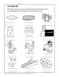 Listen and fill in the final sound grade/level: The Letter X Worksheets