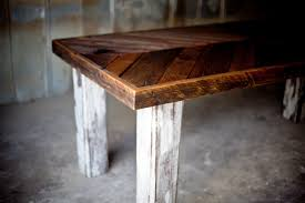 reclaimed wood white leg angled farm table