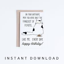 black and white birthday cards printable funny cat birthday cards printables funny black and white etsy