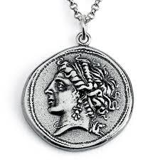 925 sterling silver replica campania neapolis roman coin pendant necklace