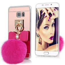 samsung galaxy s6 phone cases for girls. samsung galaxy s6 edge plus - bling soft fluff ball pink mirror ring grip mount stand holder protective tpu phone cover case cases for girls