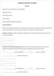 Teacher Resume Template Word Resume Templates