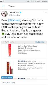 rich speculates they could possibly be drop shipping real jsc or the makeup is counterfeit later that same day js tweets walmart