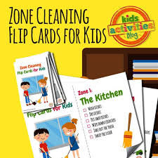 Zone Cleaning Chart For Kids Zone Cleaning Chore Chart Flip Cards For Kids