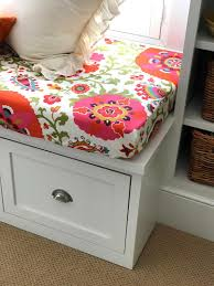 colorful flower fabric fitted cushion cover on a bench window seat