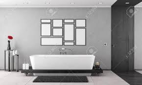 Schwarz Weiß Badezimmer Mit Badewanne Und Elegante Holztür 3d
