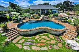 semi inground pool landscaping around patio ideas for with deep end partial inground pool46