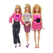 Báo giá 9 Món/Bộ Phụ Kiện Búp Bê = 3 Chiếc Váy Quần Áo Búp Bê + 3 Vòng Cổ  Bằng Nhựa + 3 Đôi Giày Ngẫu Nhiên Cho Đồ Chơi Quà