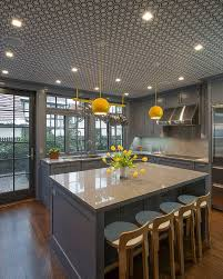Full Size of Tiles Backsplash Nice Yellow Kitchen Walls With Gray Island  Cabinets And Pendant Lights ...