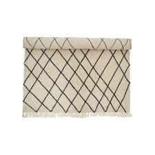 wool rug 300 x 200 cm with diamond pattern by bloomingville in beige black