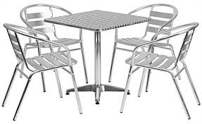 commercial aluminum bistro furniture set with 5 pieces