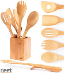neet organic bamboo kitchen utensil set