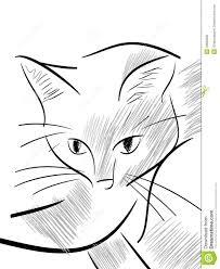 Schizzo Di Un Gatto Isolato Stilizzato Illustrazione Di Stock