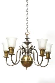 home chandeliers five light pewter and brass colonial revival chandelier
