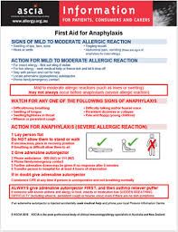 First Aid For Anaphylaxis Australasian Society Of Clinical