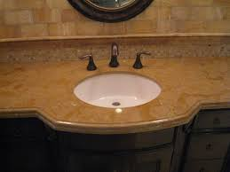 Curved Bathroom Vanity Cabinet Curved Brown Wooden Vanity Mixed Glass Vessel Sink And Black