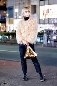 vintage faux fur coat cropped pants gold ameri vintage clutch purse in harajuku