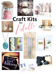collage of the best craft kits for s including crochet macrame paint pouring