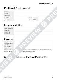 Template Of Statement Free Blank Method Statement Template Haspod