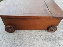 vintage wooden under bed storage box blanket box on wheels