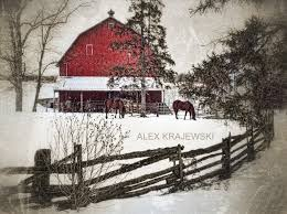 little red barn in winter sepia