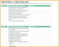 Printable Checklist For Household Items Office Move Template Excel