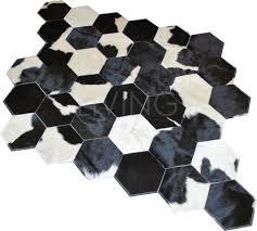 patchwork cowhide rug black