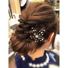 結婚式パーティー編み込み飾りアレンジ Felicita Hair Design