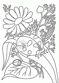 Ladybug And Flowers Spring Coloring Page For Kids Seasons Coloring