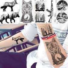 Acquista Yuran Moda Uomo Adesivi Tatuaggi Neri Piccolo Picco Lupo