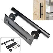 mayitr 12inch sliding door pull handle durable barn door pull handle black bar flush pull handle for interior doors hardware in door handles from home
