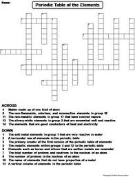 periodic table of elements worksheet crossword puzzle