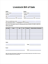 Free Forms Bill Of Sale Free 5 Sample Livestock Bill Of Sale Forms In Word Pdf