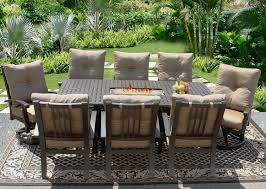 barbados cushion 42x84 rectangle outdoor patio 9pc dining set for 8 person with rectangle fire table series 7000 atlas antique bronze finish