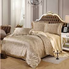 y leopard satin bedding set 4pcs solid gray brown purple imitated silk duvet cover