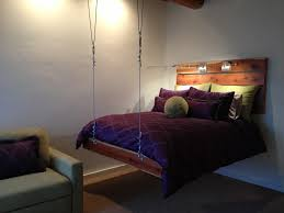 Bedroom:Breathtaking Hanging Beds For Bedrooms With Pallet Wooden Headboard  And Black Pattern Bed Cover