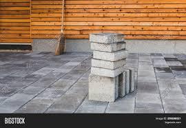 Paving Slabs Patio Design Laying Gray Concrete Image Photo Free Trial Bigstock