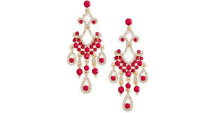 lyst inc international concepts gold tone crystal fuchsia large chandelier earrings in pink