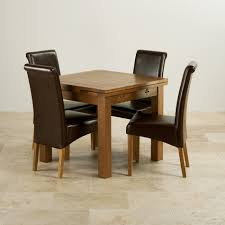 Rustic Oak Extending Dining Set 3ft Table 4 Leather Chairs