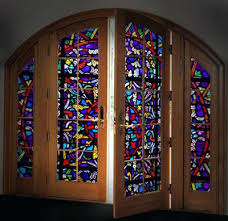 stained glass doors colorful panels in a large wooden door make it beautiful way to greet stained glass doors