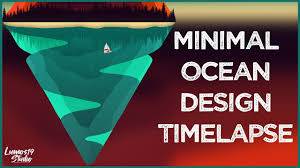 Graphic Design Timelapse Minimal Ocean Graphic Design Speed Art Timelapse Part 2