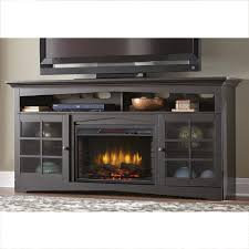 home decorators collection avondale grove 70 in tv stand infrared electric fireplace in aged black 365 187 170 y the home depot