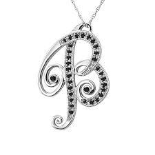alphabet initial letter b black diamond pendant necklace in14k white gold 0 16 carat